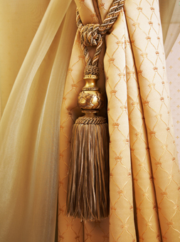 curtains, curtain poles and tiebacks